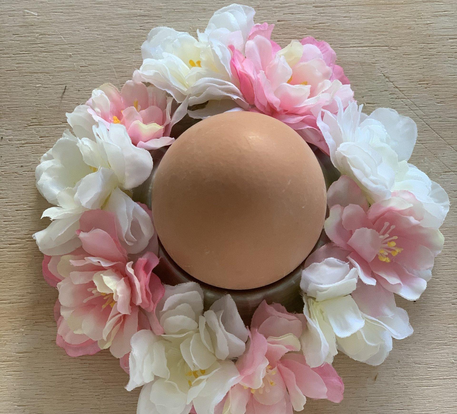 Ostereierdeko Blütenkranz von oben